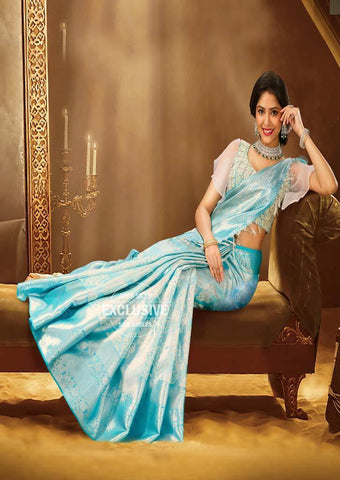 Sky Blue Wedding Silk Saree - 9KA3760 ARRS Silks