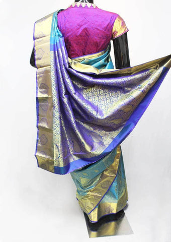 Sky blue Wedding Silk Saree - 9KA4196 ARRS Silks