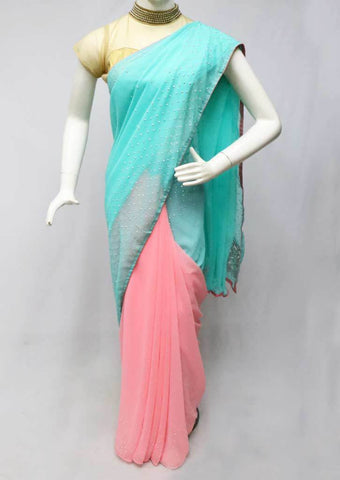 Sky blue with Baby Pink Sana Silk Saree-FC5745 ARRS Silks