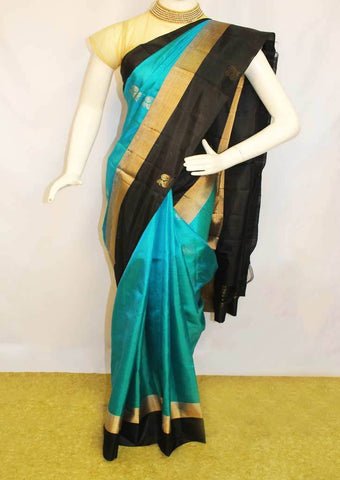 Sky blue with Black Soft Silk Saree -FK28084 ARRS Silks