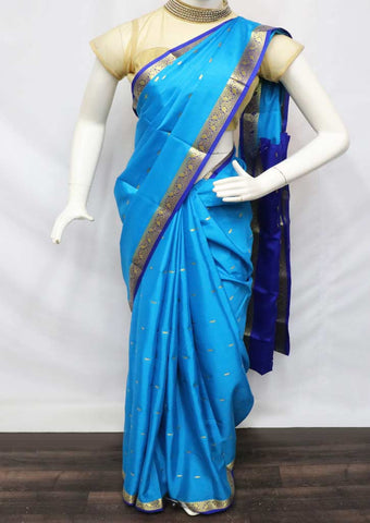 Sky Blue With Blue Mysore Silk Saree - GD28876 ARRS Silks