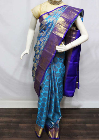 Sky Blue With Blue Wedding Silk Saree - FV6932 ARRS Silks