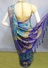 Sky blue with Dark blue Semi Raw Silk Saree-FO5461 ARRS Silks