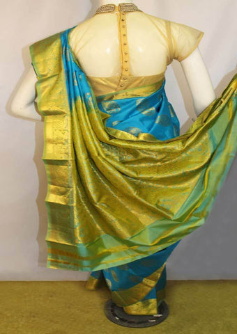 Sky Blue With Green Kanchipuram Silk Saree-FL12675 ARRS Silks