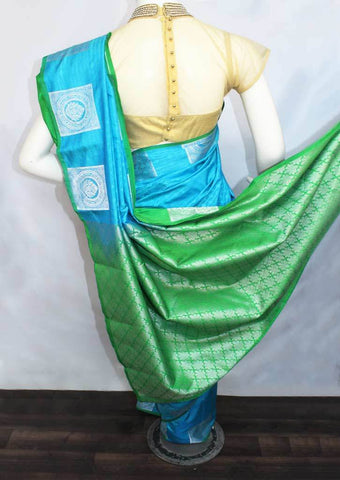 Sky Blue with Green Semi Silk Saree- FP53667 ARRS Silks
