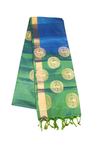 Sky Blue With Green Soft Silk Saree ARRS Silks