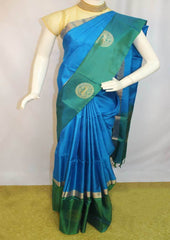 Sky Blue With Green Soft Silk Saree -EZ17999 ARRS Silks