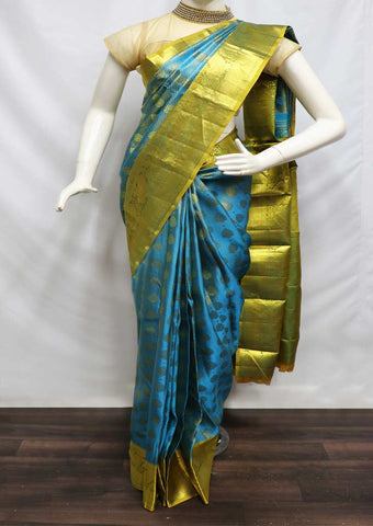 Sky Blue With Green Wedding Silk Saree - FD6273 ARRS Silks
