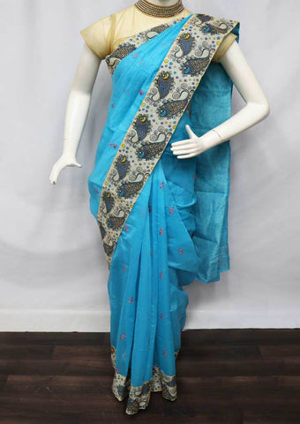 Sky blue with Light Sandal Fancy Cotton Saree - FU12025 ARRS Silks