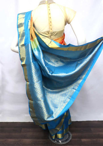 Sky blue With Orange Kanchipuram Silk Saree - FS19898 ARRS Silks