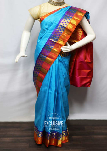 Sky Blue With Orange Kanchipuram Silk Saree - FV5224 ARRS Silks