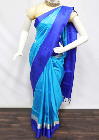 Sky Blue With Pepsi Blue Soft Silk Saree - FQ111210 ARRS Silks
