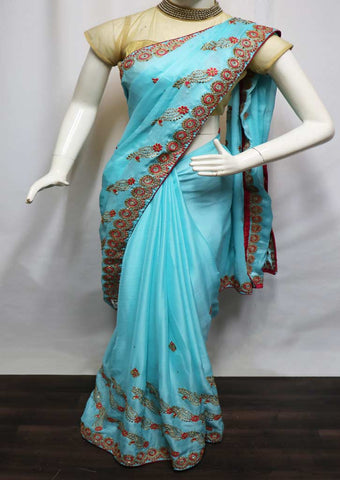 Sky Blue With Pink Designer Saree - GG11921 ARRS Silks
