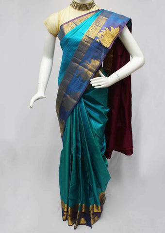Sky blue with Pink Kanchipuram Silk Saree-FQ111519 ARRS Silks