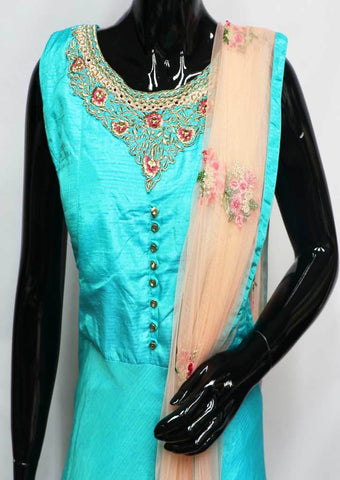 Sky Blue With Pink Readymade Salwar- FM13724 ARRS Silks