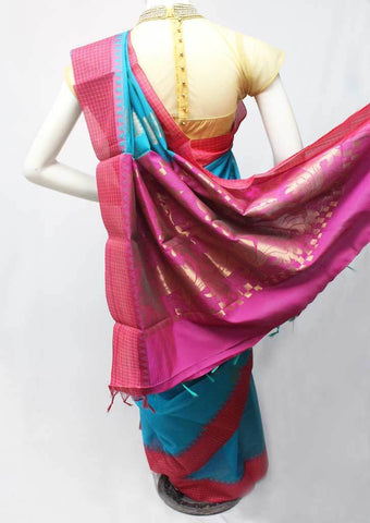 Sky blue with Pink Silk Cotton Saree - FR47180 ARRS Silks