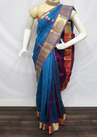 Sky Blue with Pink Silk Cotton Saree - FV30595 ARRS Silks
