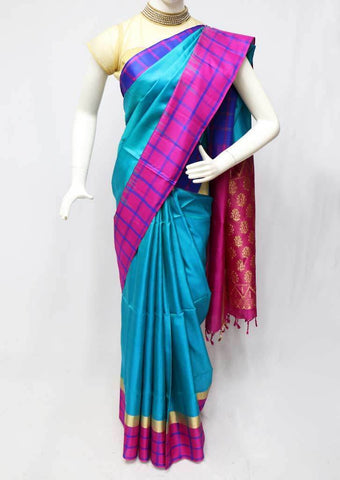 Sky blue with Pink Soft Silk Saree - 9KA878 ARRS Silks