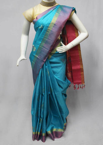 Sky Blue with Pink Soft Silk Saree -FQ111205 ARRS Silks