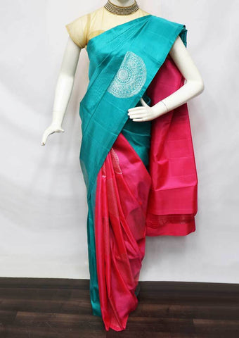 Sky Blue With Pink Soft Silk Saree - FU44217 ARRS Silks
