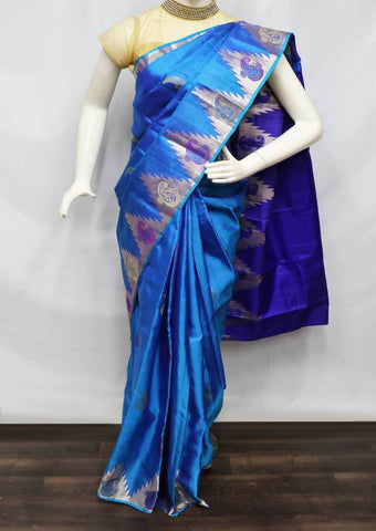 Sky Blue With Violet Kanchipuram Silk Saree -FV3335 ARRS Silks