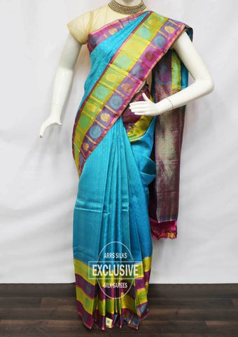 Sky Blue with Violet  Kanchipuram Silk Saree - HAX4964 ARRS Silks
