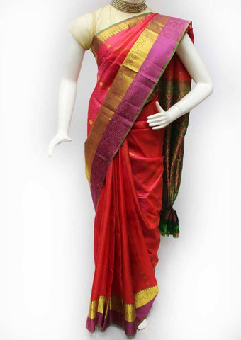 Tomato Pink with Green Kanchipuram Silk Saree - FQ41758 ARRS Silks