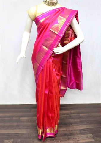 Tomato pink with magenta Kanchipuram Silk Saree -SAQ631 ARRS Silks