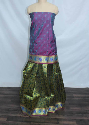 Vadamalli and Violet Shade With Peacock Green Coloured Pattu Pavadai Material - EW96 (Size:  13Yrs to 18Yrs) ARRS Silks