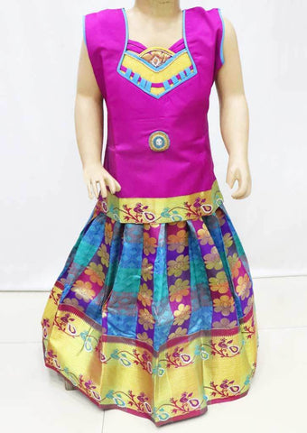 Vadamalli with Multi color Pattu Pavadai - FR21680  (Size : 4 Years ) ARRS Silks