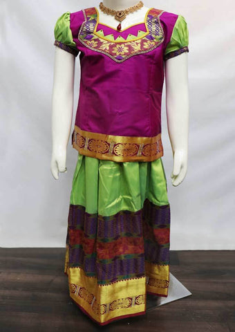 Vadamalli with Pista Green Pattu Pavadai - FU3246(Size: 6 Years) ARRS Silks