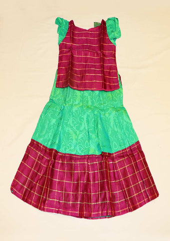 Vadamalli With Rexona Green Pure silk Stitched pattu pavadai - FO41544,FO41540,FO41545  ( Age-1 year and 4 year) ARRS Silks