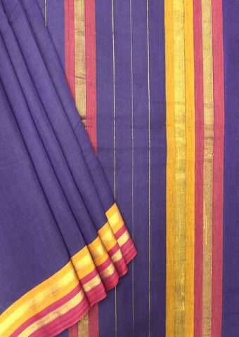 Violet and Navy Blue Shade Pure Cotton 9.5 yards Saree - FP54214 ARRS Silks