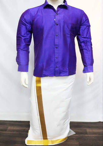 Violet Full Hand Silk Cotton Shirt - FT5914 ARRS Silks
