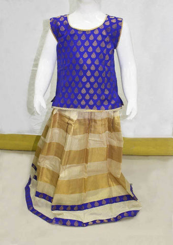 Violet, Golden Sandal Checked Pattu Pavadai - FN7915 ARRS Silks