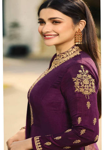 Violet Long Anarkali Raw Silk Grand Chudi Material-FQ92983 ARRS Silks