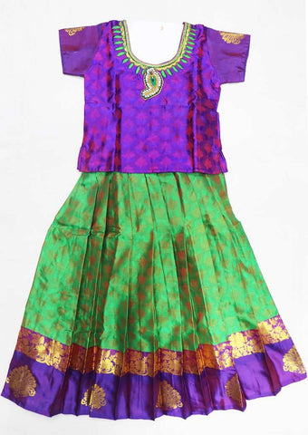 Violet Pure silk Stitched pattu pavadai - FU620  ( Age-3 years) ARRS Silks