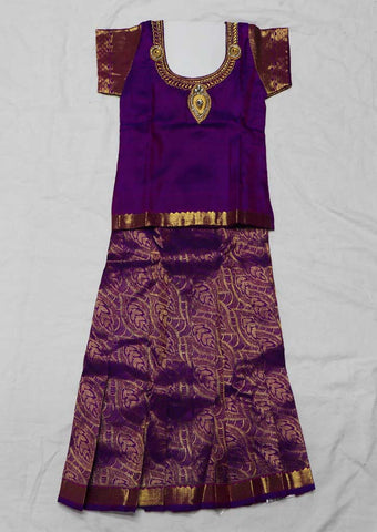Violet Pure silk Stitched pattu pavadai - FX12533 ( Age-2 years) ARRS Silks