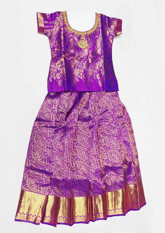 Violet Pure silk Stitched pattu pavadai - FX12543 ( Age-4 years) ARRS Silks