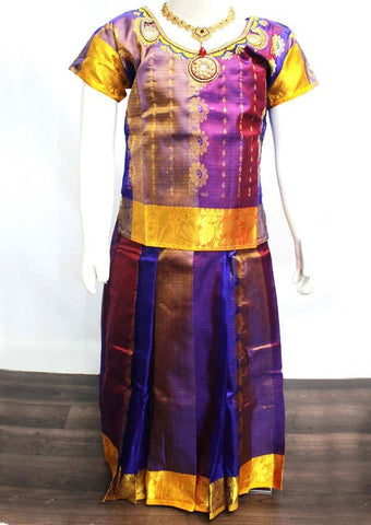 Violet Readymade Pure silk pavadai  - FP14273 (Age - 6 years) ARRS Silks