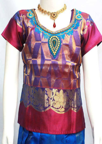 Violet Readymade Pure silk pavadai  - FP14285 (Age - 6 years) ARRS Silks