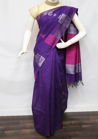 Violet Silk Cotton Saree - FV10455 ARRS Silks
