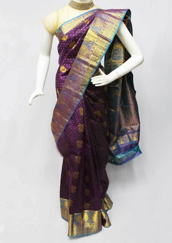 Violet with Blue Kanchipuram Silk Saree-FQ111699 ARRS Silks