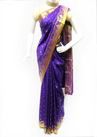 Violet with Golden Semi Silk Saree- FM87872 ARRS Silks