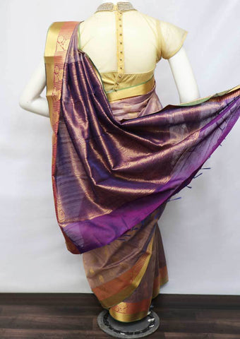 Violet With Golden Shade Silk Cotton Saree - FV30605 ARRS Silks