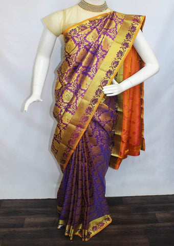 Violet With Golden Yellow Semi Silk Saree- FN68533 ARRS Silks