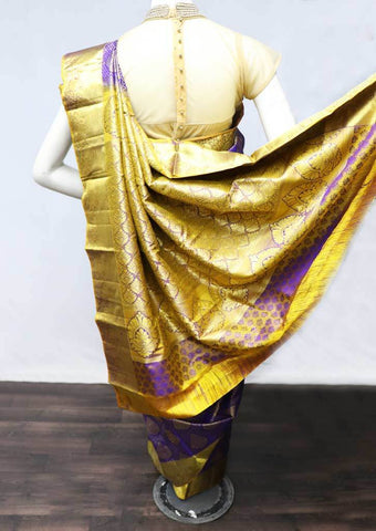 Violet with Golden Yellow  Wedding Silk Saree - FF20825 ARRS Silks