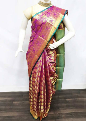 Violet with Green Semi Silk Saree - FT19864 ARRS Silks