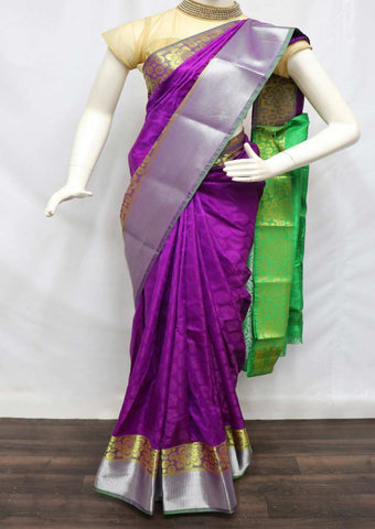 Violet With Green semi silk saree  - FZ44123 ARRS Silks