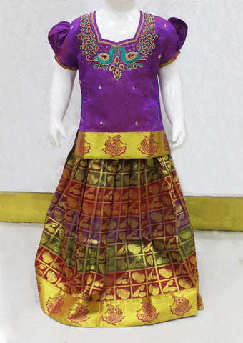 Violet With Multi Color Checked Pattu Pavadai - FO21180 ARRS Silks